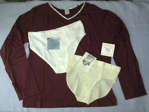 sz-M-Calvin-Klein-Sleep-Top-long-sleeve-2-Hipster-Panties-Purple-White