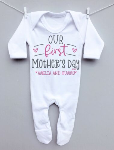 Personalised baby sleepsuit romper grow our 1st mothers day heart mummy gift