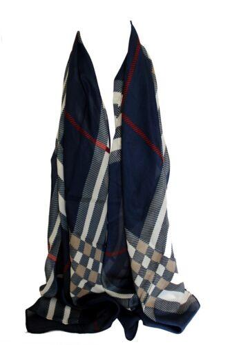 Chiffon Style Colourful Check Print Scarf Stole Hijab Wrap Sarong Head Scarf