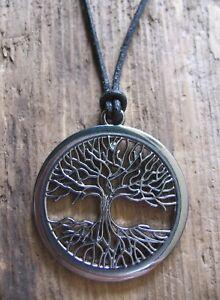 Lebensbaum-Anhaenger-Leder-schwarz-Herren-Damen-Damenkette-Baum-Kette-Halskette