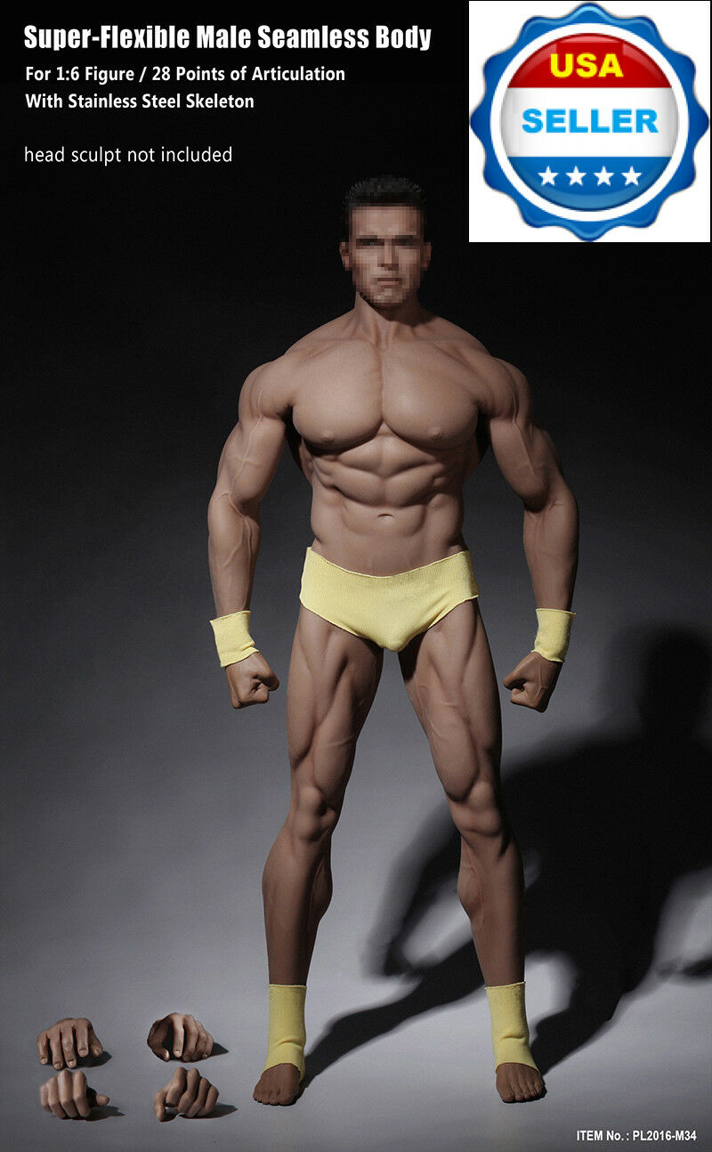1/6 Phicen PL2016-M34 Seamless SUPER Muscular Male Figure Body Steel Skeleton