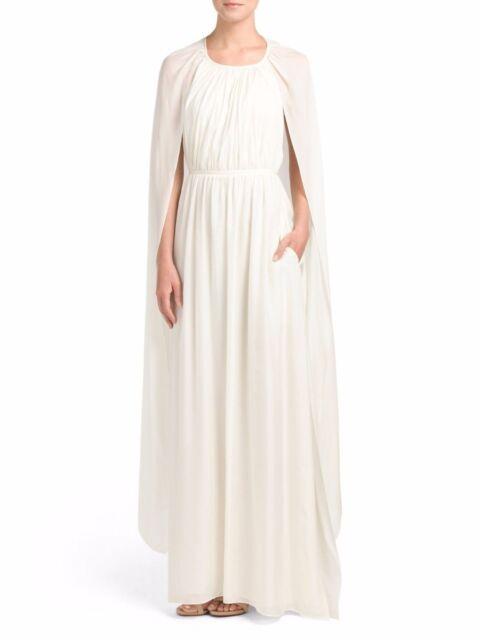 Rachel Zoe 100 Silk Chiffon Henrietta Caped Gown Ecru Ivory Sz 6 ...