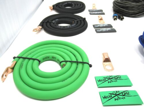 4 Ga AWG Amp Kit and 4 Gauge AWG Big 3 Upgrade Green Black Sky High Car Audio