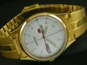 VINTAGE UNUSED SEIKO 5 AUTOMATIC JAPAN MENS DAY/DATE GP WATCH-a175402-1