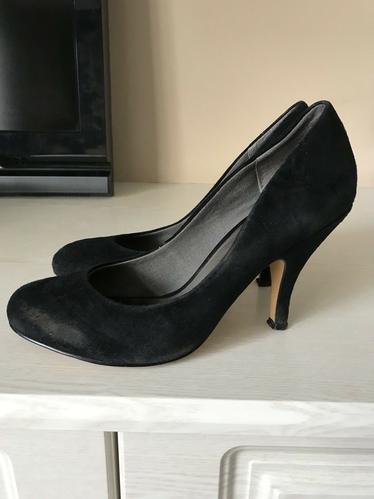 ASOS Black Suede Effect High Heeled Court Shoes sz 5
