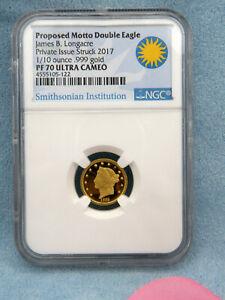 PR70-NGC-Smithsonian-James-Longacre-Proposed-Motto-Double-Eagle-1-10oz-Gold-coin