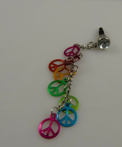 Rainbow peace symbols dangle  cell phone or for  Ipad charm ear cap dust plug