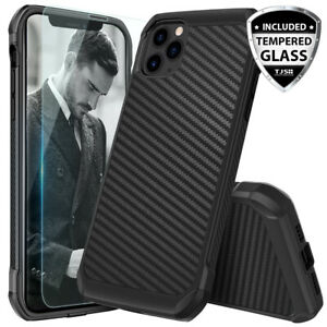 For-iPhone-11-Pro-Max-XS-Max-XR-X-8-7-Plus-Carbon-Fiber-Hard-Case-Tempered-Glass