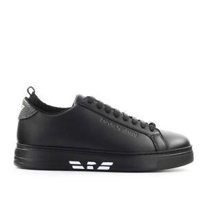 Scarpe-da-Uomo-Sneaker-Nero-Bianco-Calza-Emporio-Armani-FW2020