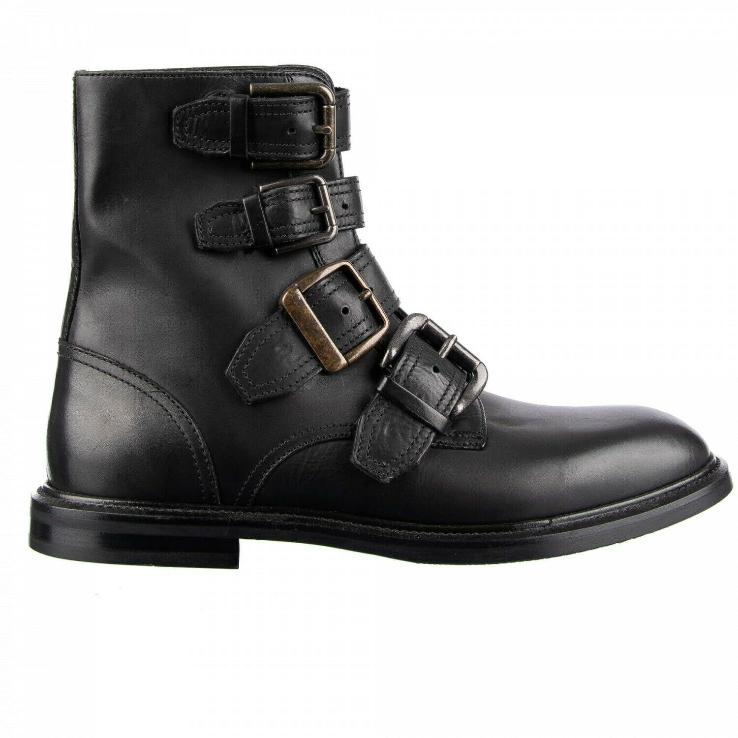 Dolce & Gabbana Runway Ankle Boots with Buckles Marsala Black 09049