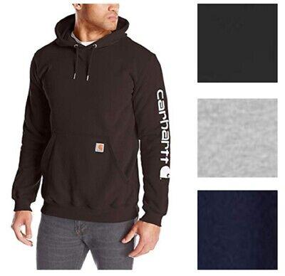 Carhartt Mens Signature Sleeve Logo Sweatshirts Midweight Hooded Pullover #K288