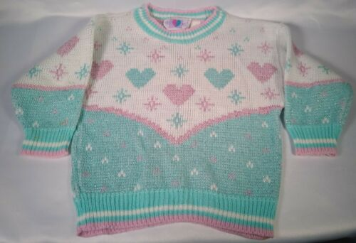 size S-L Vintage 80/'s CHEWAN *Rare* Bears Pattern Fairy Kei Jumper Sweater Pullover Fluo Pink Green Allover Print
