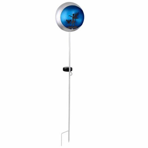 LED SOLAR Steck Leuchte Mond blau silber Außen Steh Strahler Lampe Fee Erdspieß