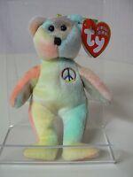 Ty Beanie Baby Peace Plush Jingle Beanie Tie Dye Bear With Peace Symbol