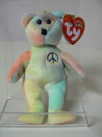 Ty Beanie Baby Peace Plush Jingle Beanie Tie Dye Bear With Peace Symbol