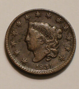 1831-Coronet-Head-Large-Cent-FULL-DETAIL-with-some-moderate-roughness-of-surface