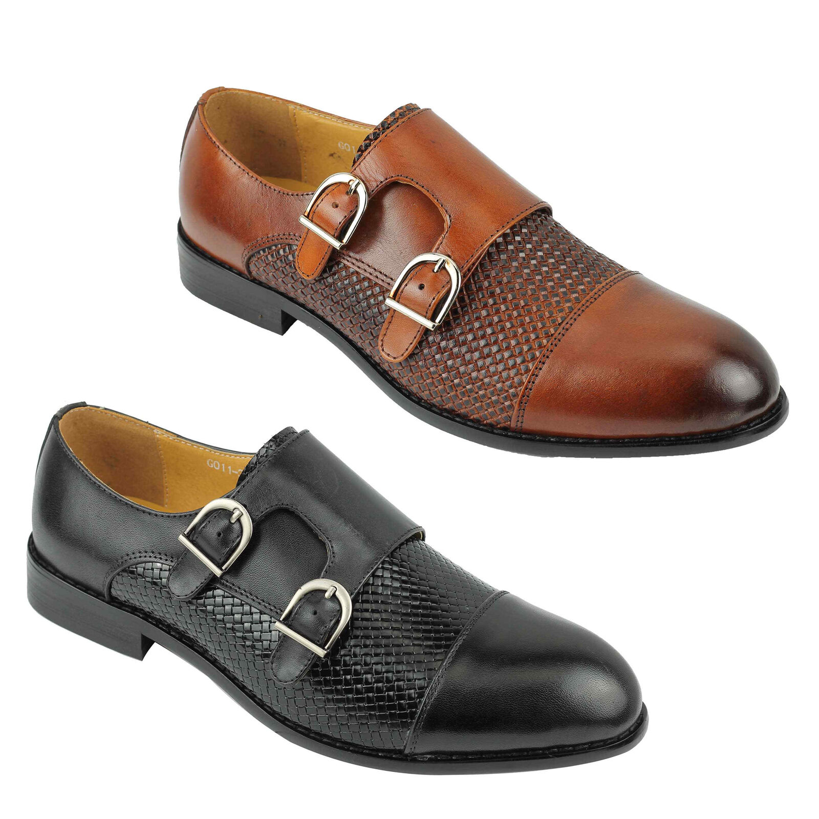 New Mens Black Brown Brown Brown Real Leather Vintage Smart Formal Wedding Dress Monk shoes 8d2510