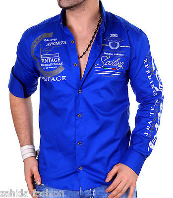 Langarm Herren Männer Hemd Herrenhemd Hemden Slim Fit Club Yachting Polo Men NEU