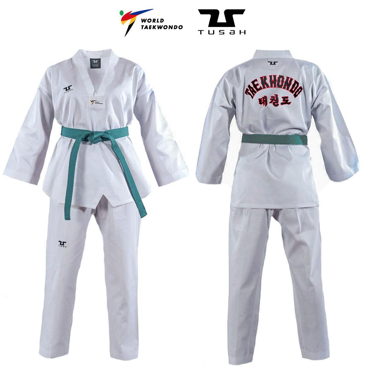 Tusah - Dobok Basic Uniform Uniform Uniform per Taekwondo con Ricamo su schiena Omologato WTF b9c1b6