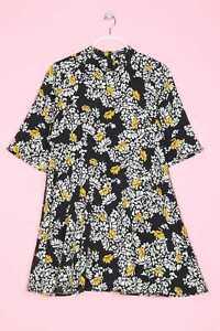 Zara Kleid Blumen L schwarz-weiß gelb | eBay