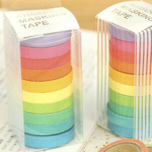 Elegant-10Stueck-Tape-Klebeband-Papierklebeband-Bunt-Washi-Masking-Tape-Dekor