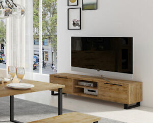 Details zu Lowboard 180cm wotan eiche TV-Board Wohnzimmer Modern Klapptüren  23609