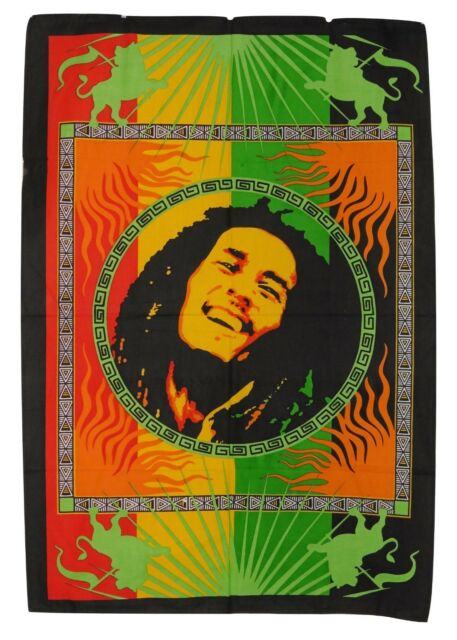 Bob Marley Print Hippie Rasta Cotton Wall Hanging Fair Trade 80x110 cm (BM2)