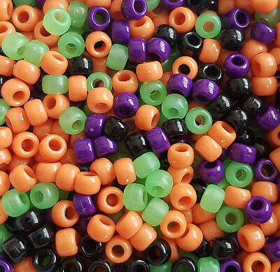 100 Frosty Pony Beads Mix Loom Bands Dummy Clip Orange Blue Yellow Green Purple