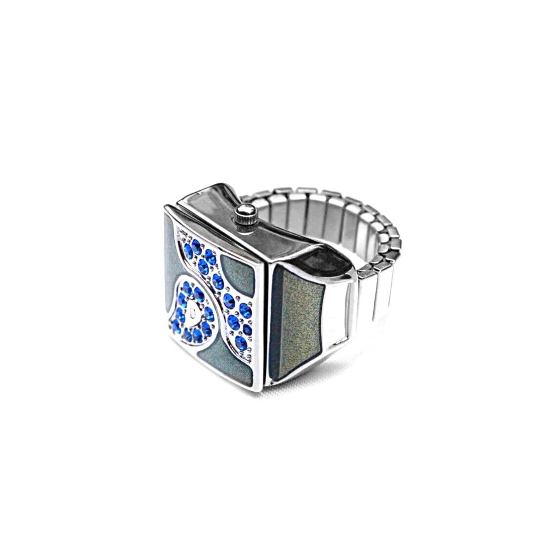 Midnight bluee Pave Cube Ring Watch