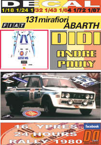 DECAL FIAT 131 ABARTH DIDI YPRES 24 HOURS R. 1980 DnF (09)