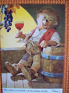 Postkarte-AK-Mecki-Nr-311-034-ohne-Wein-und-Liebe-ist-das-Leben-truebe