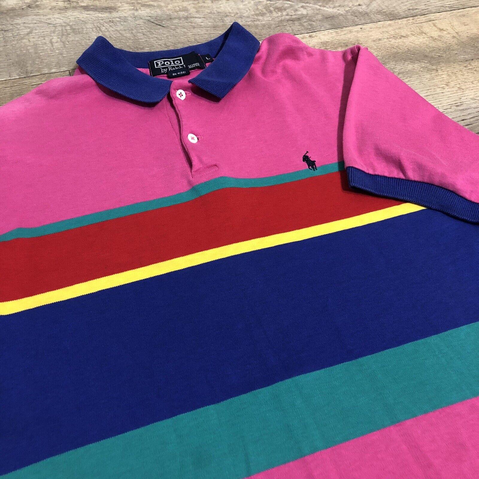 Vtg Ralph Lauren Polo Pink Striped Cotton Short S… - image 4