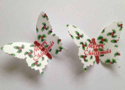 12 Merry Christmas Holly /& Berries Rice Wafer Paper Butterflies Cupcake Toppers