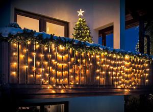 Weihnachtsdeko Lichterketten Außen.Lichterkette Lichtervorhang Balkon Bogen 240 Leds 5m Außen