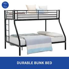 Metal Twin Over Full Bunk Beds Ladder Kids Teens Adult Dorm Bedroom Black