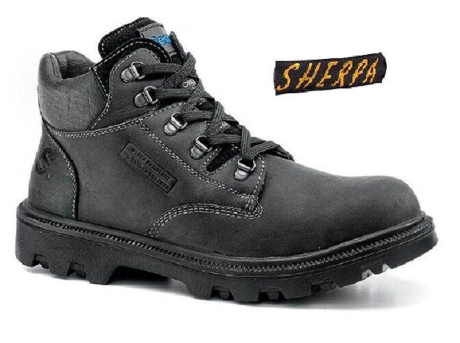 SEA Corp Sherpa BRANCA 9245 cerosa Nero Acciaio Puntale Wide Fit Stivali di sicurezza