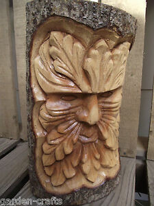 Medium green man log carving hand carved nature gift cm