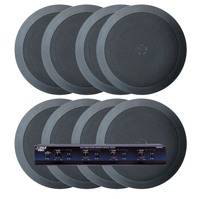 NEW Pyle KTHSP85PBK 4 Room In-Ceiling Home Speaker With Selector-Volume Control