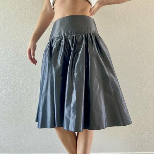 Armani Collezioni Pewter Satin Party Skirt