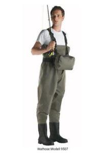 Cormoran-Wathose-PVC-Gr-39-46-mit-Brusttasche-Guertel-Aufbewahrungstasche