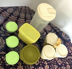 Lot-Vintage-Tupperware-Storage-Containers-Pitcher-Condiment-Server-Bowls-Lids
