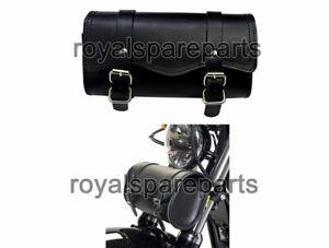 Universal Indian Motorbike Front Side Genuine Leather Tool Bag Black Color