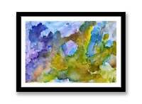 Yellow, purple and Blue abstract - original ink abstract painting unique gift