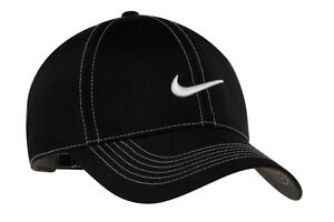 4e8018be1791c NEW NIKE GOLF HAT-BLACK-WITH-WHITE-STITCH HATS -ADJUSTABLE-SWOOSH ...