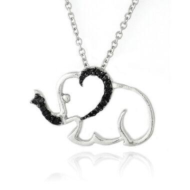 Black and White Diamond Elephant Pendant