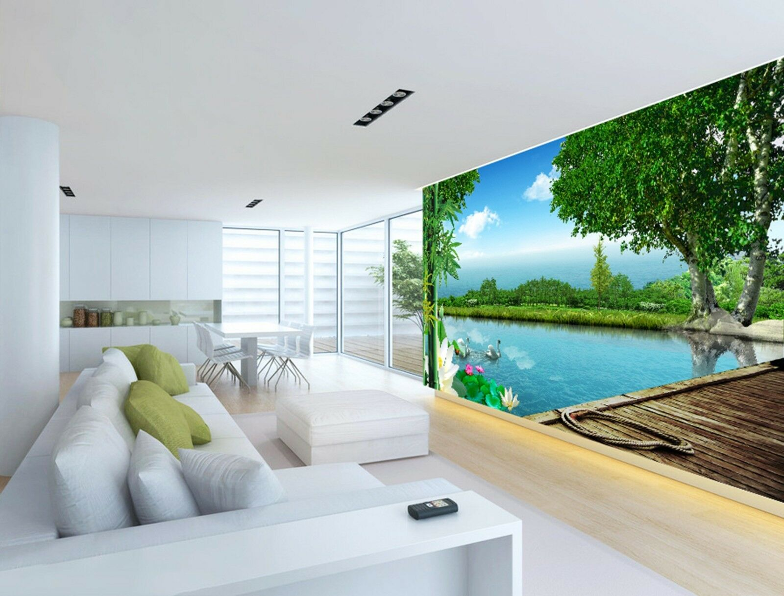 3D Green trees lake Wall Paper Print Decal Wall Deco Indoor wall Mural
