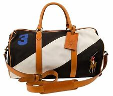 Polo Ralph Lauren Men's Canvas Black Watch Leather Duffel Bag