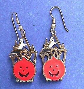 EARRINGS-Halloween-Vintage-PUMPKIN-Ghost-HAUNTED-HOUSE-Enamel-Holiday-Jewelry