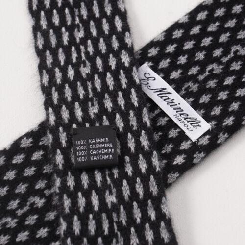 MARINELLA NAPOLI Black and Gray Jacquard Knit Cashmere Tie New $295 E