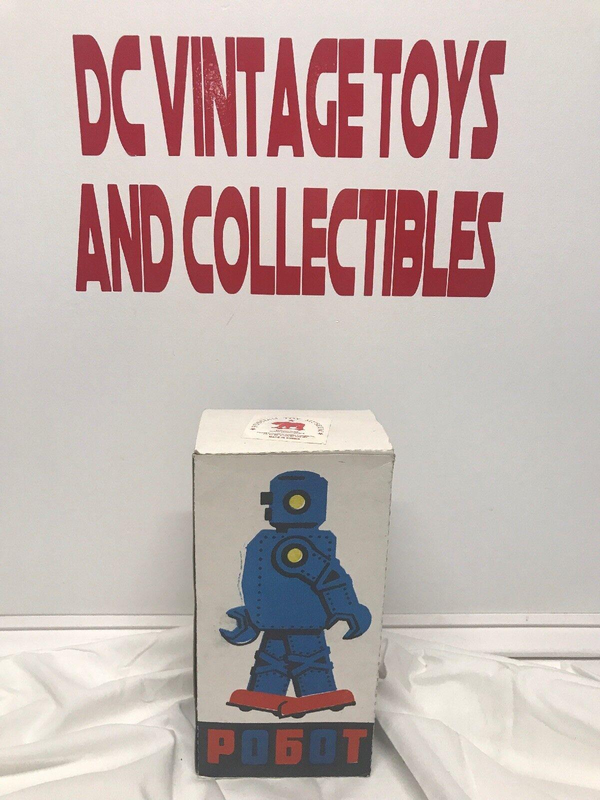 Museo De Juguete Vintage Unión Soviética rusa pogot Wind Up Robot Con Llave Y Caja Funciona